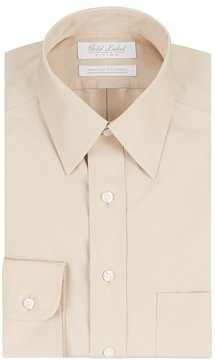 Roundtree & Yorke Gold Label Non-Iron Fitted Point-Collar Solid Dress Shirt