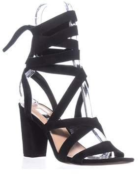 INC International Concepts I35 Kailey Lace-up Block-heel Sandals, Black Suede.