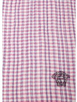 Versace Women's Embroidered Medusa Logo Cotton/linen Scarf Pink.