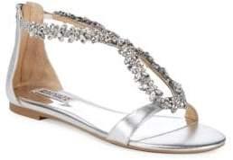 Badgley Mischka Haynes Embellished Metallic Leather Flat Sandals