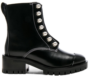 3.1 Phillip Lim Lug Sole Zipper Leather Boots with Pearls in Black.
