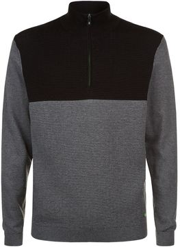 BOSS GREEN Funnel Neck Zip-Down Sweater