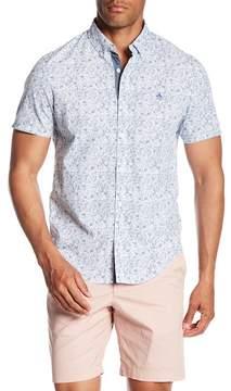 Original Penguin Gingham Floral Print Short Sleeve Slim Fit Shirt