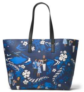Michael Kors Welcome Graphic Leather Tote - SAPPHIRE - STYLE