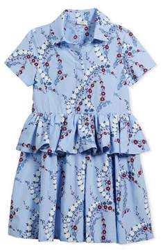 Fendi Floral-Print Collared Dress, Size 6-8