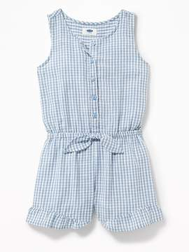 Old Navy Gingham Cinched-Waist Romper for Girls