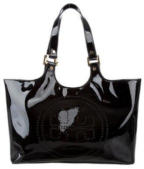 Tory Burch Patent Leather Bombe Tote - BLACK - STYLE