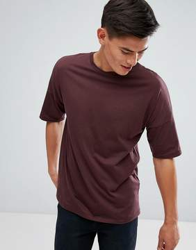 Kiomi Drop Shoulder T-Shirt In Burgundy