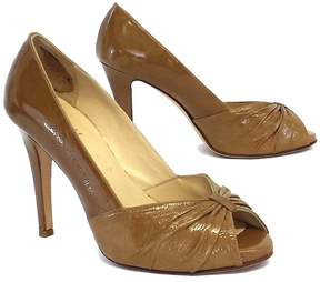 Butter Shoes Tan Patent Leather Peep Toe Heels