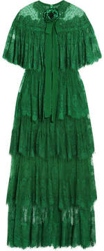 Elie Saab Tiered Swiss-dot Lace Gown - Forest green