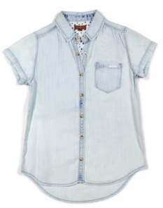7 For All Mankind Girl's Chambray Short Sleeve Shirt