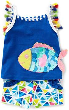 Rare Editions Baby Girls 12-24 Months Fish-Appliqued Tank Top & Printed Shorts Set