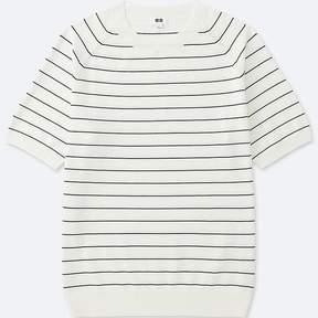 Uniqlo Men's Washable Striped Crewneck Short-sleeve Sweater