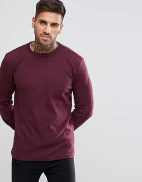 New Look Long Sleeve Waffle Knit Top In Burgundy