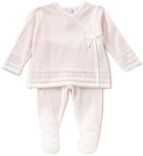 Angel Dear Baby Girls Newborn-3 Months Long-Sleeve Kimono Top & Striped Pants Set