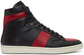Saint Laurent Black and Red Court Classic SL-10H High-Top Sneakers