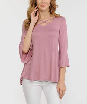 Celeste Dark Pink Crisscross Bell-Sleeve Tunic - Women