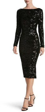 Dress the Population Women's Emery Scoop Back Sequin Midi Dress