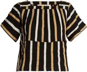 Ace&Jig Vista square-neck striped textured-cotton top