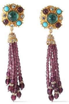 Ben-Amun Gold-Tone Swarovski Crystal And Stone Clip Earrings