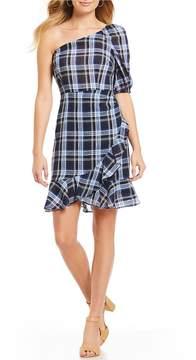 Donna Morgan One Shoulder Plaid Linen Mini Dress