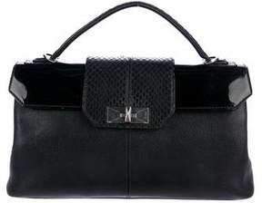 Cartier Snakeskin-Trimmed Leather Satchel