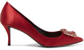 Roger Vivier Crystal-embellished Satin Pumps - Red