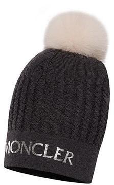 Moncler Abito Tricot Logo Cable-Knit Hat