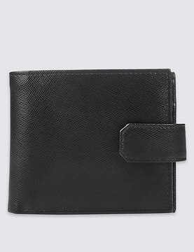 Marks and Spencer Leather Saffiano Bi Fold Coin Wallet with CardsafeTM