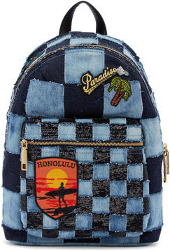 Marc Jacobs Blue Denim Patchwork Backpack