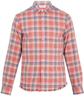 Frame Checked frayed-hem flannel shirt