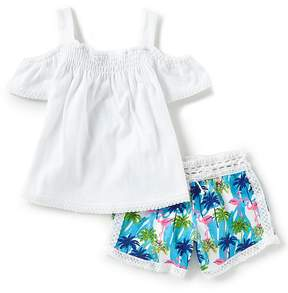 Rare Editions Baby Girls 12-24 Months Lace-Trimmed Gauze Top & Printed Shorts Set