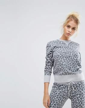 Converse Essentials Leopard Crew Sweatshirt In Gray