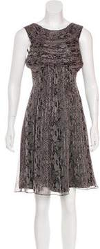 Anna Sui Printed Metallic-Accented Dress