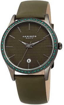 Akribos XXIV Green Dial Leather Ladies Watch
