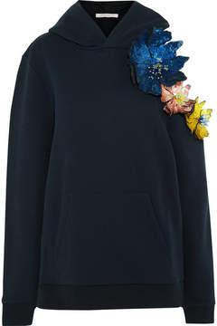 Christopher Kane Cold-shoulder Embellished Appliquéd Cotton-jersey Hooded Top - Midnight blue