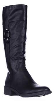 Style&Co. Sc35 Astarie Buckle Knee High Boots, Black.