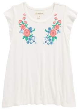 Tucker + Tate Floral Embroidered Flutter Sleeve Tee