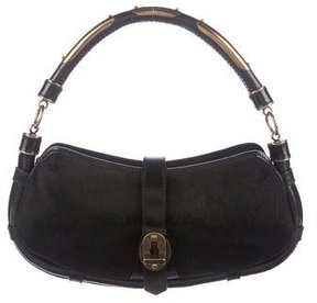 Burberry Pony Hair Shoulder Bag - BLACK - STYLE