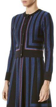 Carolina Herrera Knit Metallic Stripe Cardigan