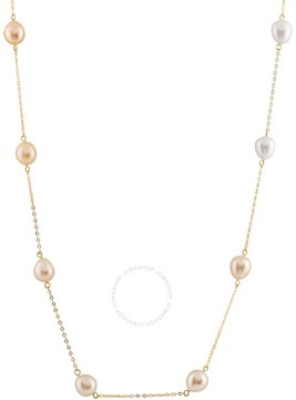 Bella Pearl 10K Gold Floating Multicolor Pearl Necklace