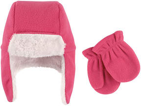 Hudson Baby Dark Pink Trapper Hat & Mittens