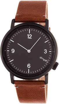Simplify Black & Brown The 5500 Leather-Strap Watch