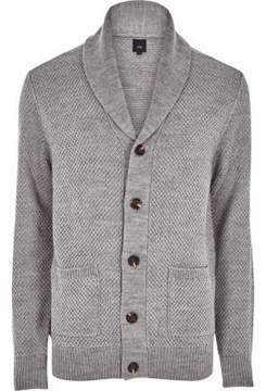 River Island Mens Grey shawl neck button-up knit cardigan