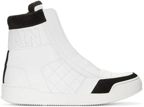 Balmain White Quilted High-Top Sneakers
