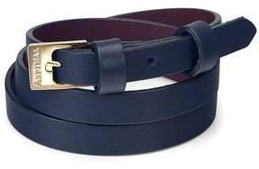Aspinal of London Mayfair Skinny Double Wrap Leather Bracelet In Smooth Blue Moon