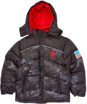 U.S. Polo Assn. Red & Gray Camouflage Hooded Puffer Coat - Toddler & Boys