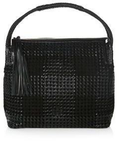 Tory Burch Taylor Leather Hobo Bag - BLACK - STYLE