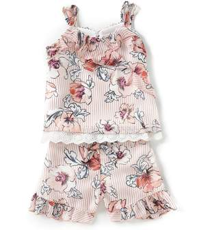 Rare Editions Little Girls 2T-6X Striped/Floral Chiffon Tank Top & Shorts Set