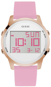 GUESS Pink and Rose Gold-Tone Digital Chronograph Watch